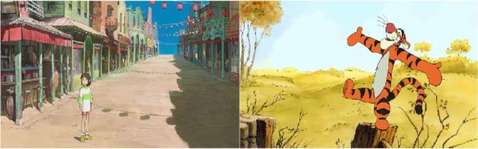 Spirited Away juxtaposed next to a Disney film of the same time period