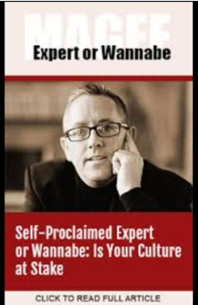 SELF-PROCLAIMED EXPERTS On The Rise...