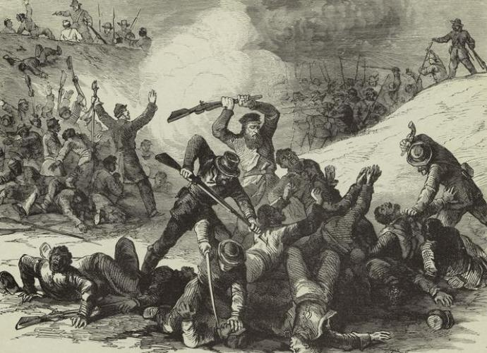 Confederates executing surrendering black union soldiers