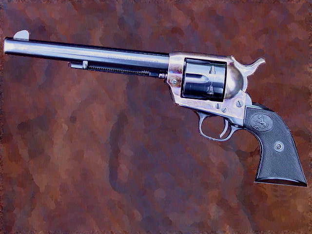 The colt single action army revolver, an icon of the post civil war American frontier.