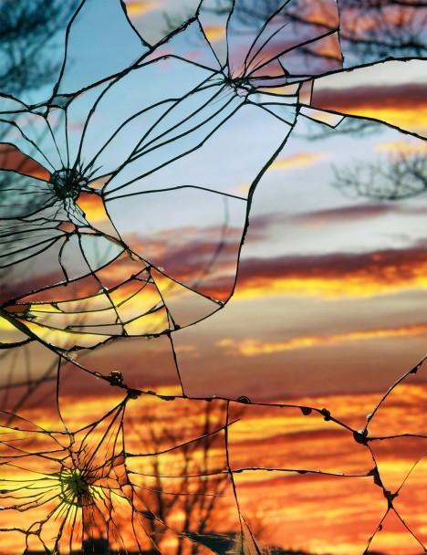 Shattered Sunsets Broken Mirror Photos of Evening Skies