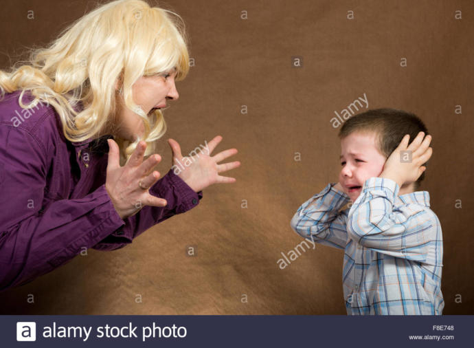 Mother, angered, verbally blows up at her Son who is obviously in distress.