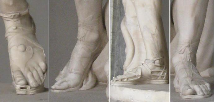 Musei Vaticani Feet sandals of Apollo del Belvedere 1 and 3, Perseus by Antonio Canova 2 and 4