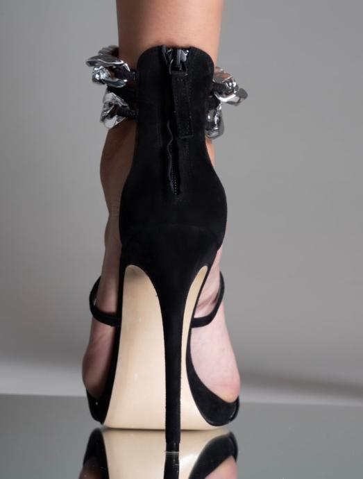 Aminah Abdul Jilil, Silver Chain Open Toe Sandal
