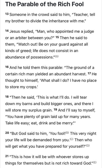 How I understand the Parable of the Rich Fool