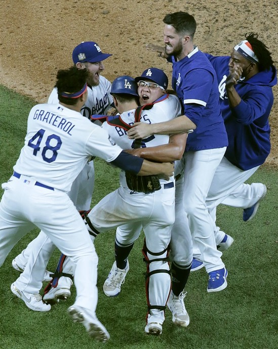 The Los Angeles Dodgers celebrate winning the 2020 MLB World Series, in the most bizarre MLB Season in the history of MLB, thanks to the COVID-19 Pandemic.