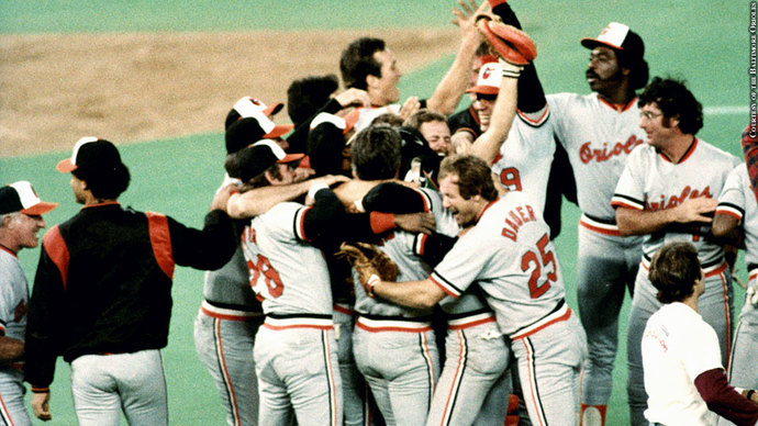 The Baltimore Orioles celebrate winning the 1983 World Series.