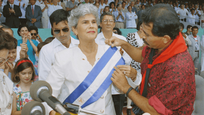 Daniel Ortega (actual president), passing the presidency to Violeta Barrios de Chamorro
