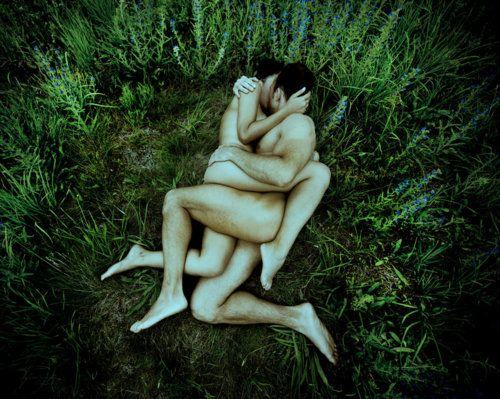 naked couple making love outdoors