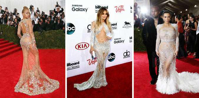 What do you think of the 'naked look'  for the red carpet (Kim K, Beyonce and J-Lo)?