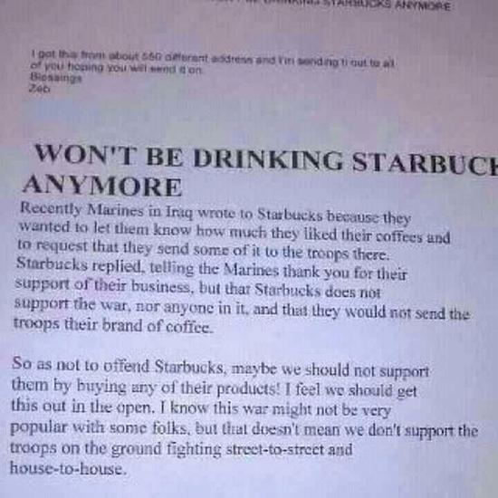 What do you think of the incident of Starbucks refusing customer service to our military service members just because they disagree?