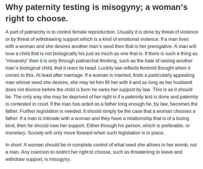 Is paternity testing misogyny?