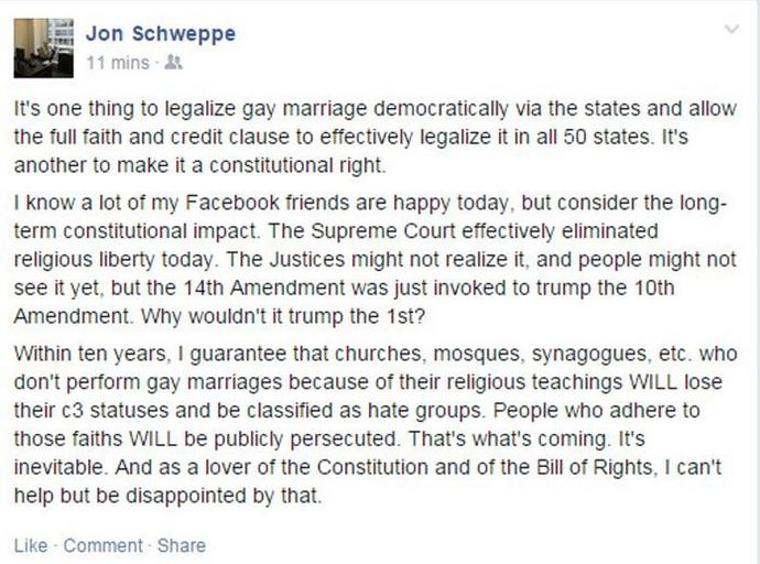 Supreme Court legalizes gay marriage nationwide?