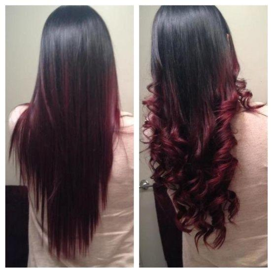 Bright red highlights in dark brown hair brown hairs but lately i ve been thinking of dying my hair tips dark red my original hair bright red hair with dark purple highlight wonderful color pmusecretfo Images