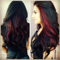 Bright red highlights in brown hair brown hairs hair color ideas0591 should i get red highlights pmusecretfo Images
