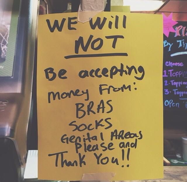 Whats your take on this sign posted on the store window?
