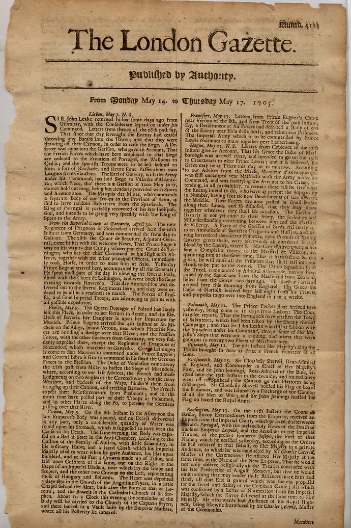 I found a newspaper from 1705, didn't I?