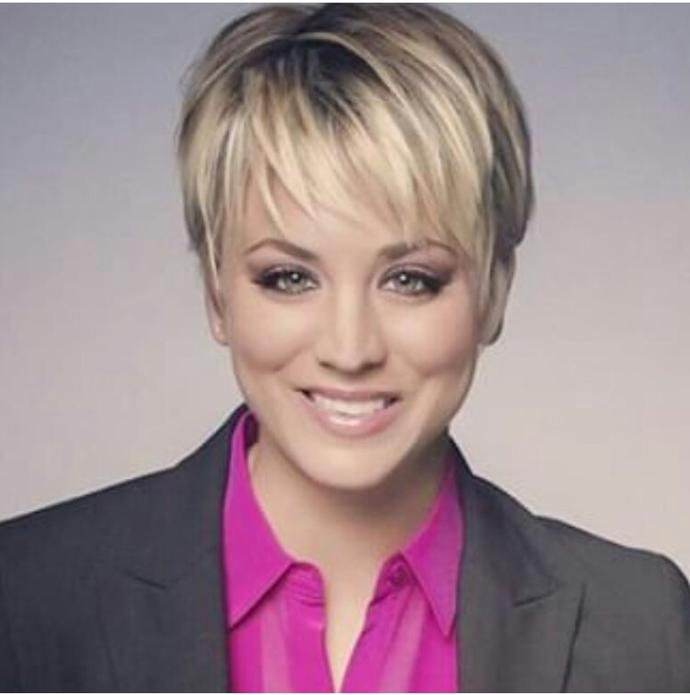 What do you think of kaley cuoco new look, do you think she looks hot?