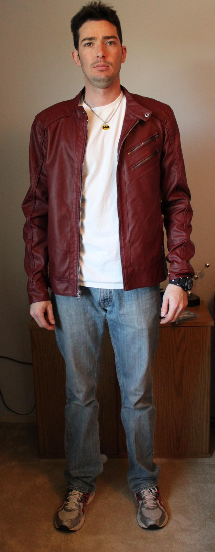 Looking for a shoe/boot to go with this red leather jacket. What do you think?  I should go with black, right?