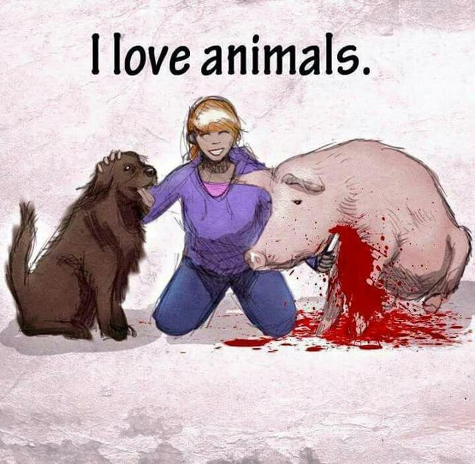 Do you think it's hypocritical for meat-eaters to say they love animals?