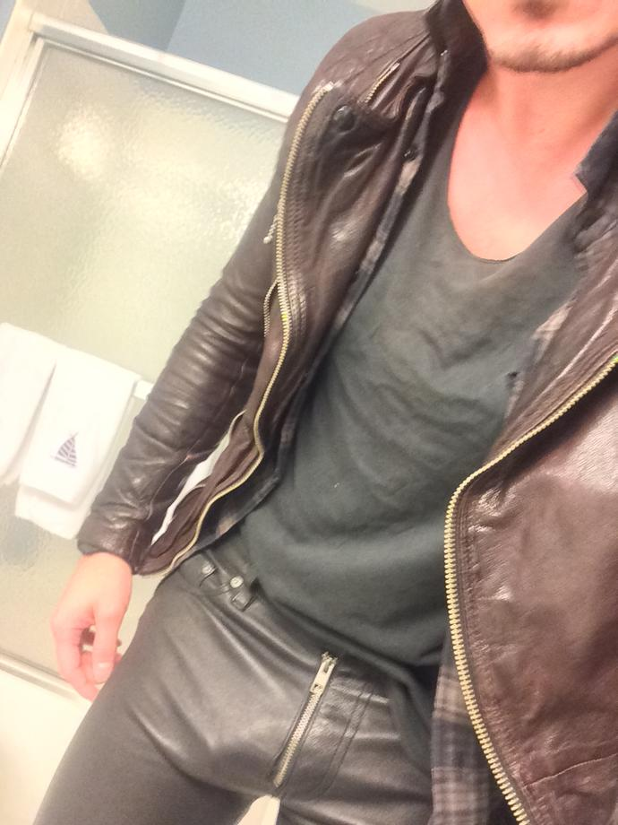Girls, do I pull off these leather pants and leather jacket?  Pics included.  Is leather on leather too much?