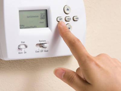 Who controls the temp at your house and what does it stay on ?