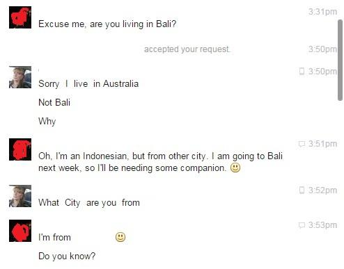 I was trying to pick up an Aussie white MILF in Bali on Facebook and got rejected. Show me where I did wrong?