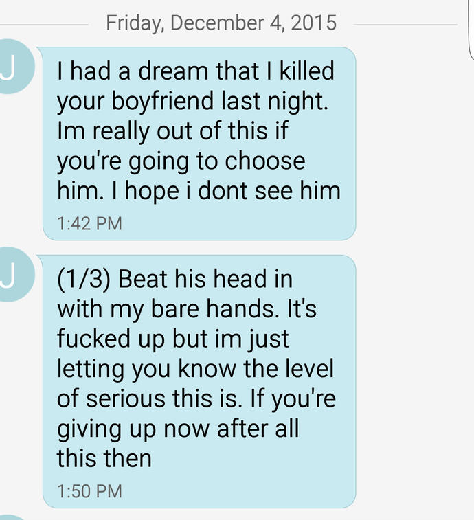 Very frightening texts from Ex after breaking up with him this morning... what should I do? How serious is this?