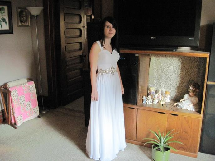 How does my wedding dress look? (please ignore the derp face I can't force a smile XD?