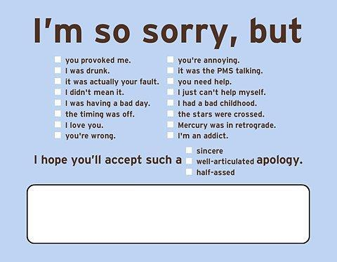 What does an apology typically mean to you?