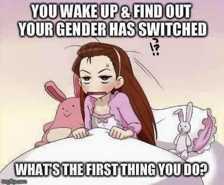 YOu wake up and find out your gender has switched. What is the first thing you do?