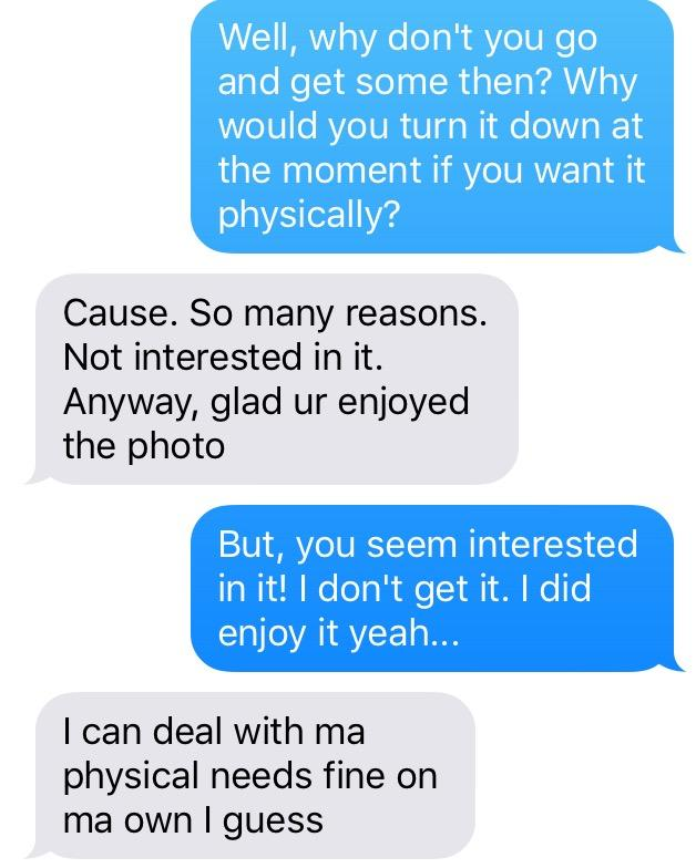 So here's the conversation I'm having with my EX about SEX. Calling on experts. Mega confused. Looking for MHO?