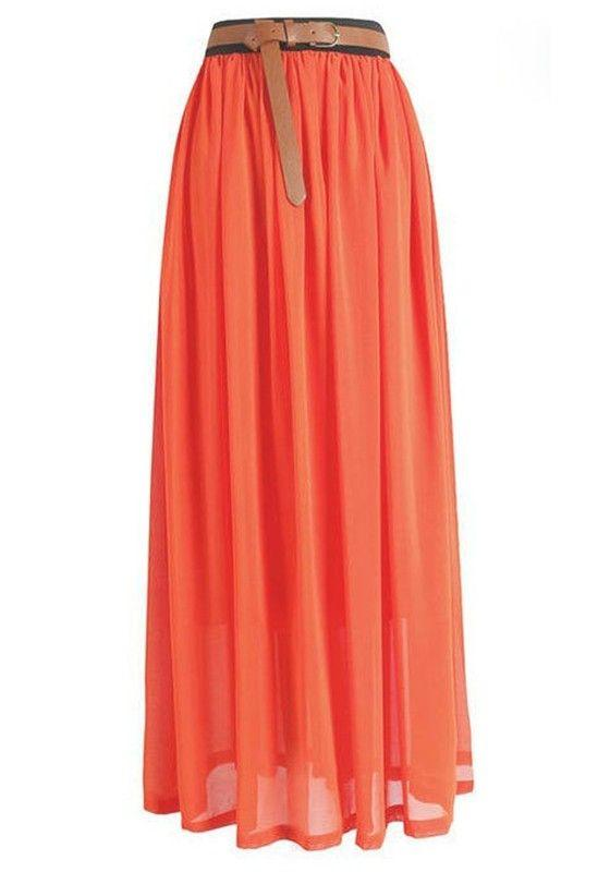What should i wear with a long orange skirt?