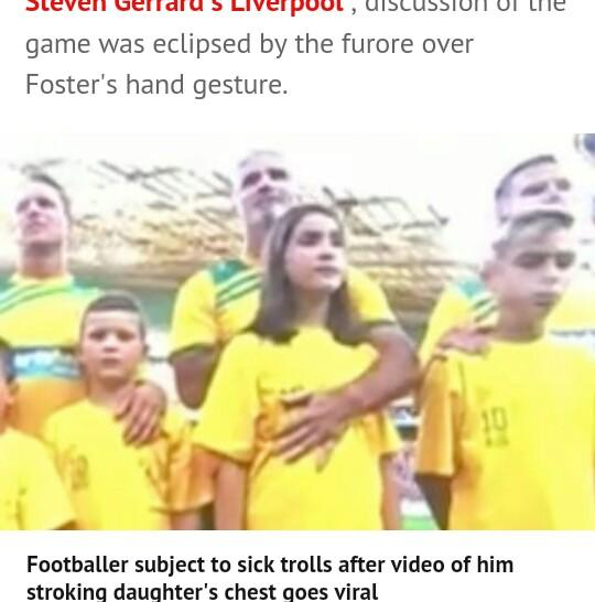 This father is being accused of touching his daughter in a live football match?