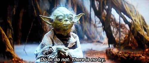 Do or Do not, there is no try. Do you agree or disagree with Yoda?
