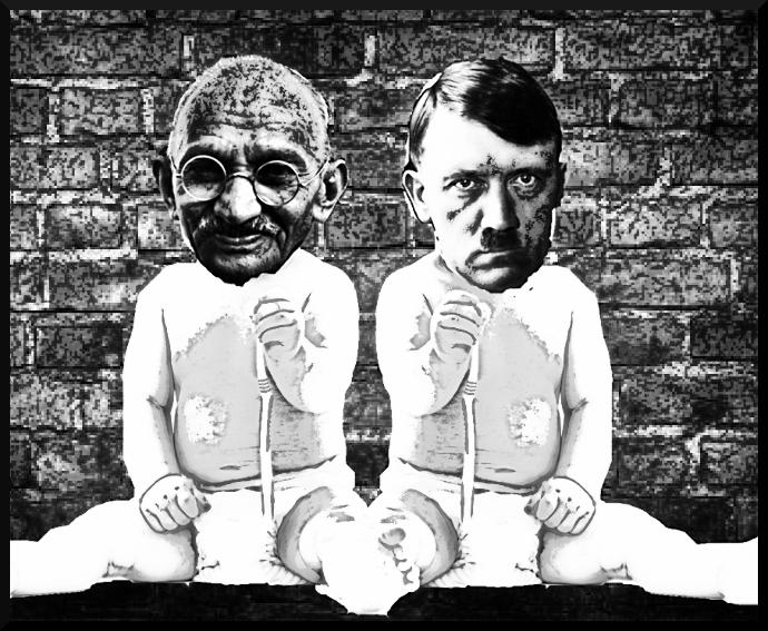 Funny comment on this picture (Hitler and Gandhi)?