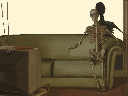 You come home one day and find a skeleton watching your TV, what do you do?