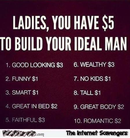 Ladies you have 5$ do built your ideal man what do you choose?