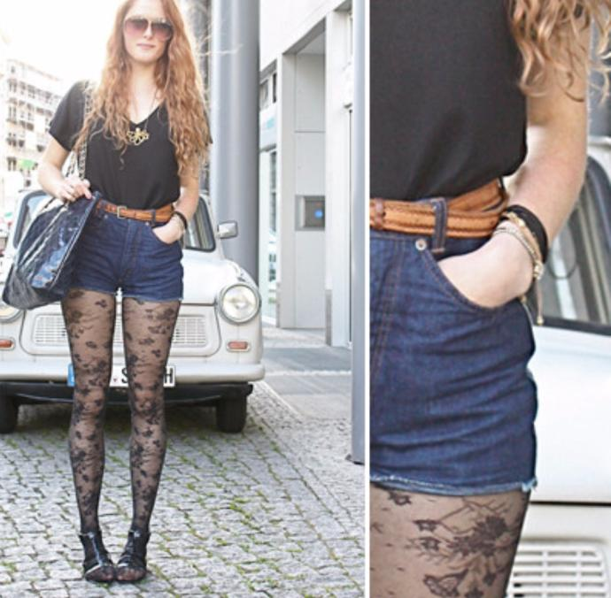 Lace tights with shorts. Hot or Not?