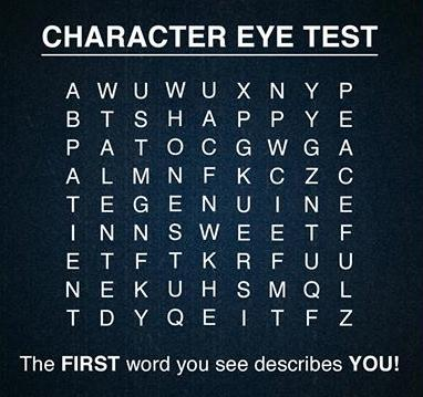 Character Eye Test - the first word you see describes you?