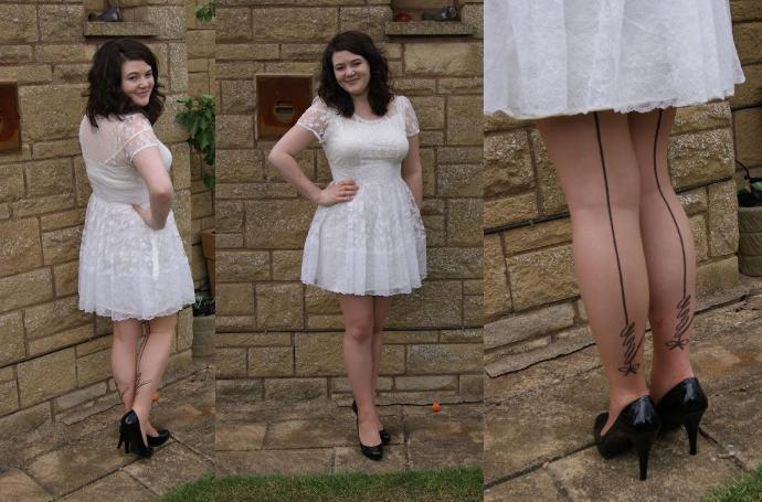 Little white skater dress with black pumps: What do you think?