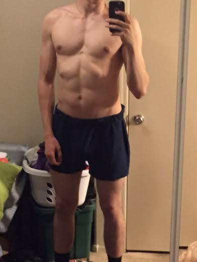 [In underwear] I've been working out since October what do you think?