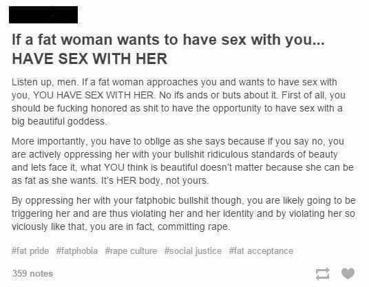 What are your thoughts on this feminist's statement on Tumblr about 'fat acceptance'?