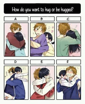How do you want to hug or be hugged?