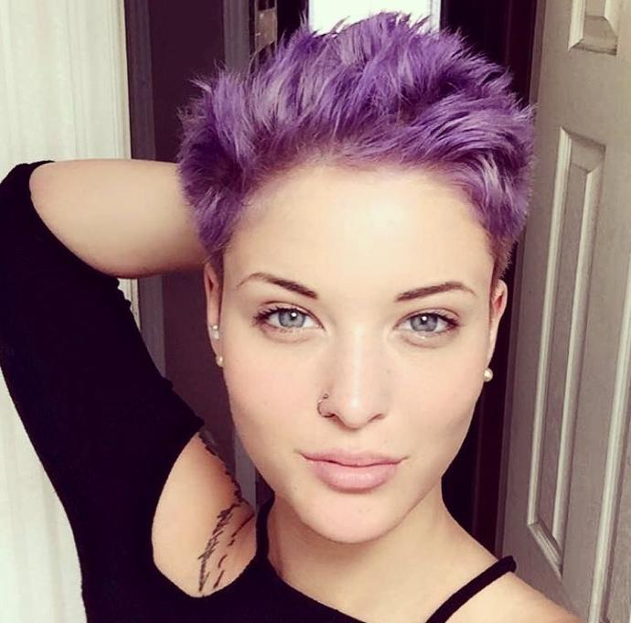 What do you think of my new purple hair? (And yes I'm not wearing any makeup)?