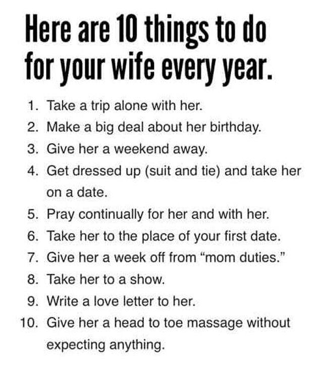 10 things to do for your husband every year?
