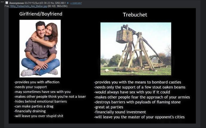 Should i pursue a relationship with a girl or trebuchet ?
