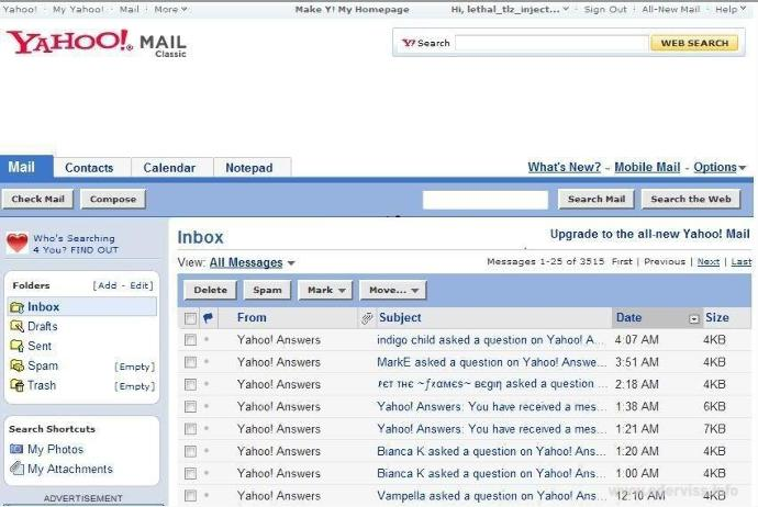 How to get the old Yahoo mail look back?