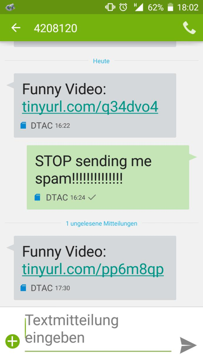 How can I block a number from sending me SMS spam (Android)?