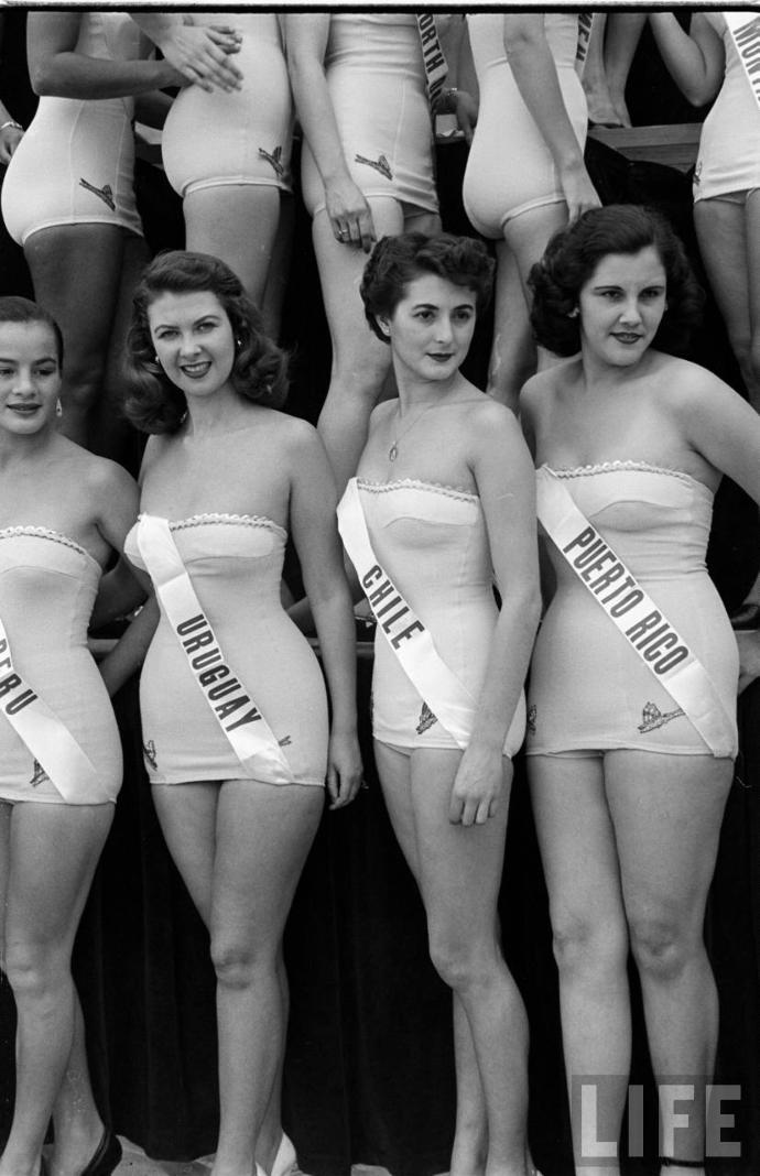 Girls, This is a photo from the 1952 Miss Universe contest. Do those bathing suits look comfortable?